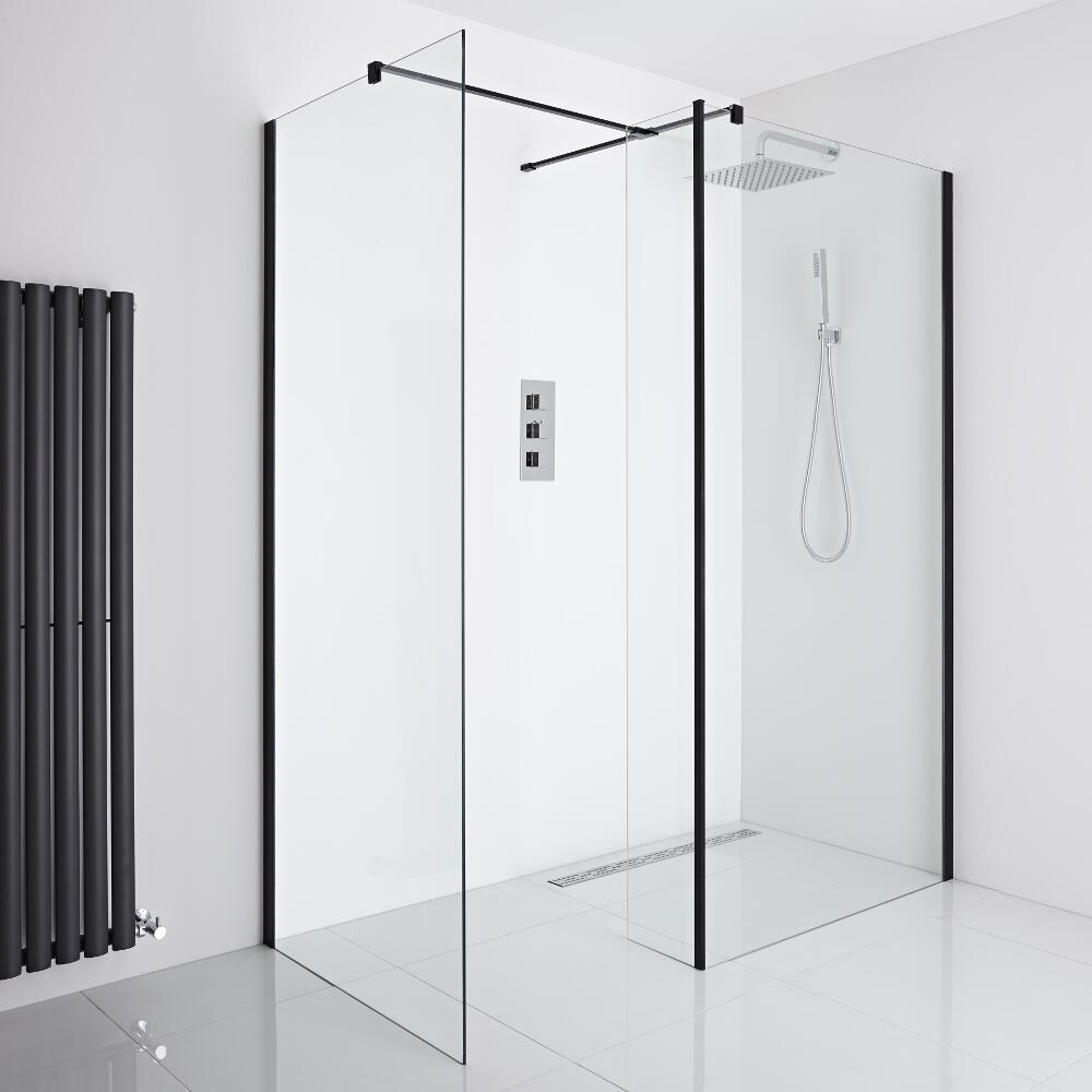 Milano Nero Corner Wet-Room Shower Enclosure (1200mm x 900mm Glass) - Inc. Drain & Return Panel