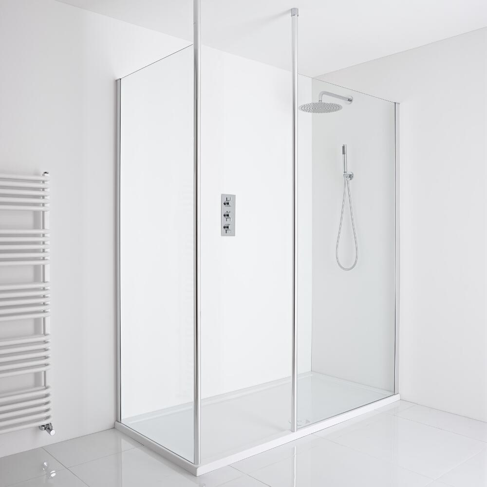 Milano Alto Corner Walk-In Shower Enclosure (1600 x 800mm) - Inc. Tray