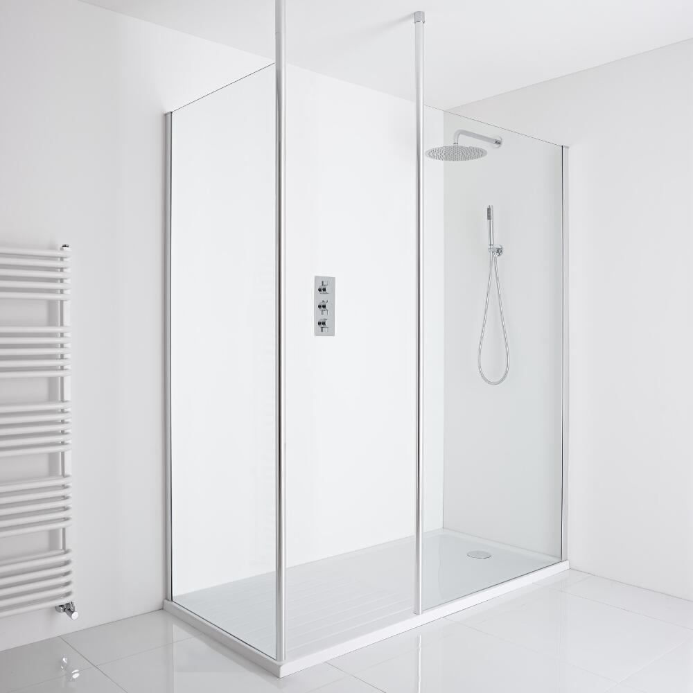 Milano Alto Corner Walk-In Shower Enclosure (1600 x 800mm) - Inc. Walk-In Tray
