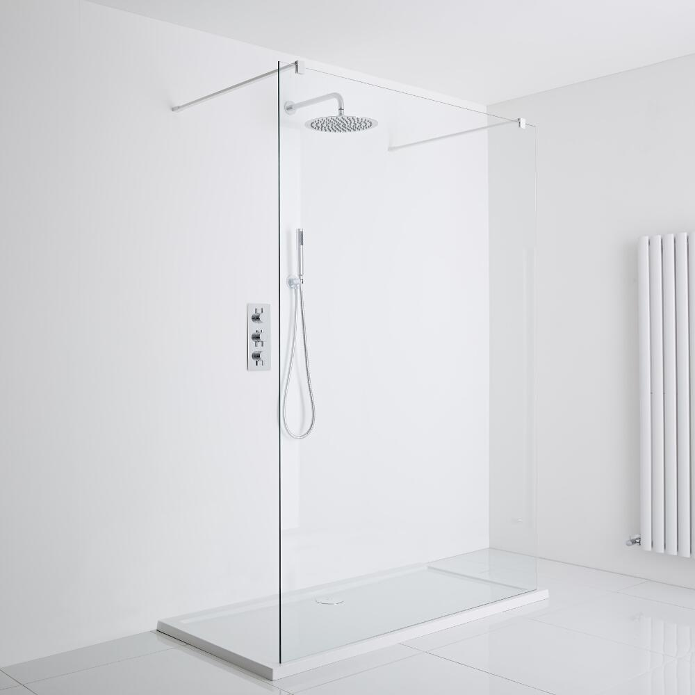Milano Bianco Floating Walk-In Shower Enclosure (1400 x 900mm) - Inc. Tray