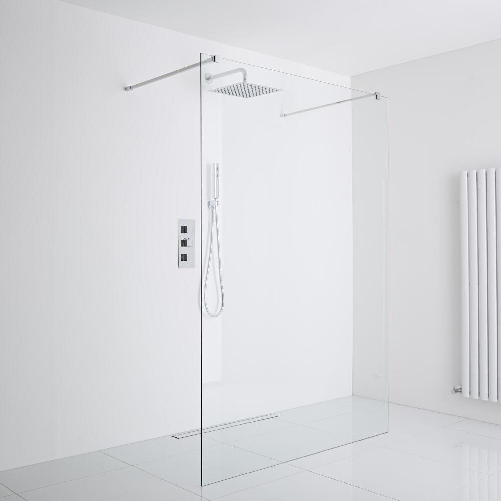Milano Portland Floating Wet-Room Shower Enclosure (1200mm Glass) - Inc. Drain