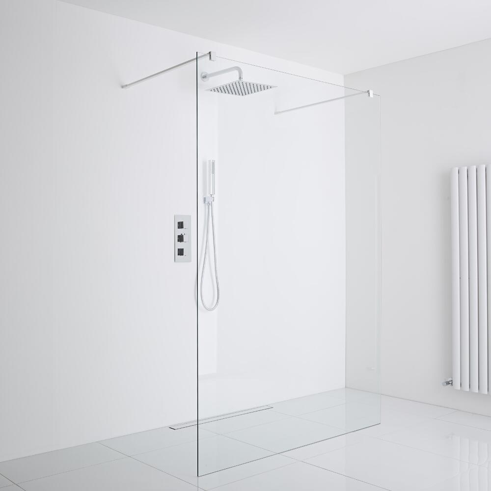 Milano Bianco Floating Wet-Room Shower Enclosure (1400mm Glass) - Inc. Drain