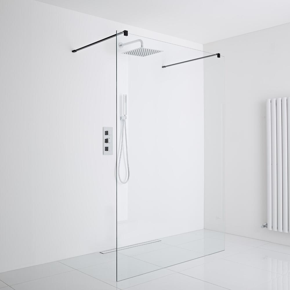 Milano Nero Floating Wet-Room Shower Enclosure (1200mm Glass) - Inc. Drain