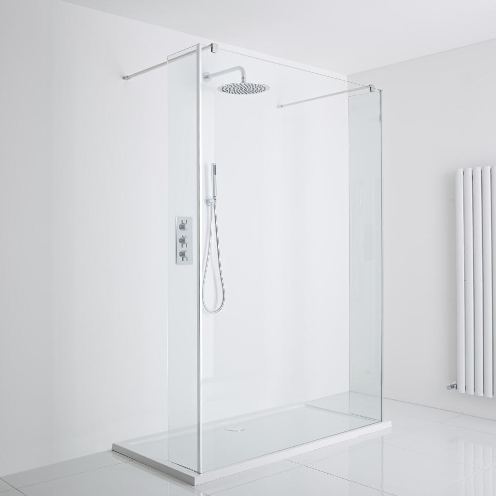 Milano Portland Floating Walk-In Shower Enclosure (1400 x 900mm) - Includes Tray