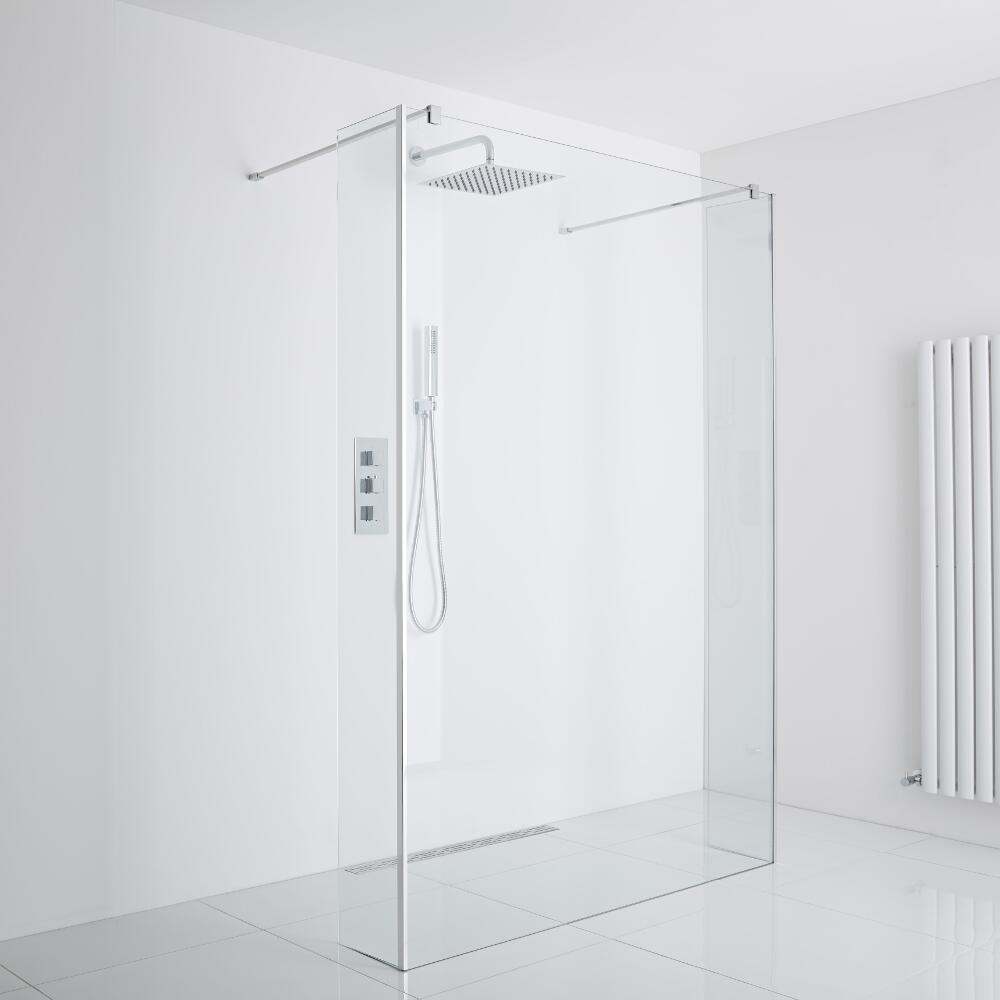 Milano Portland Floating Wet-Room Shower Enclosure (1400mm Glass) - Includes Drain