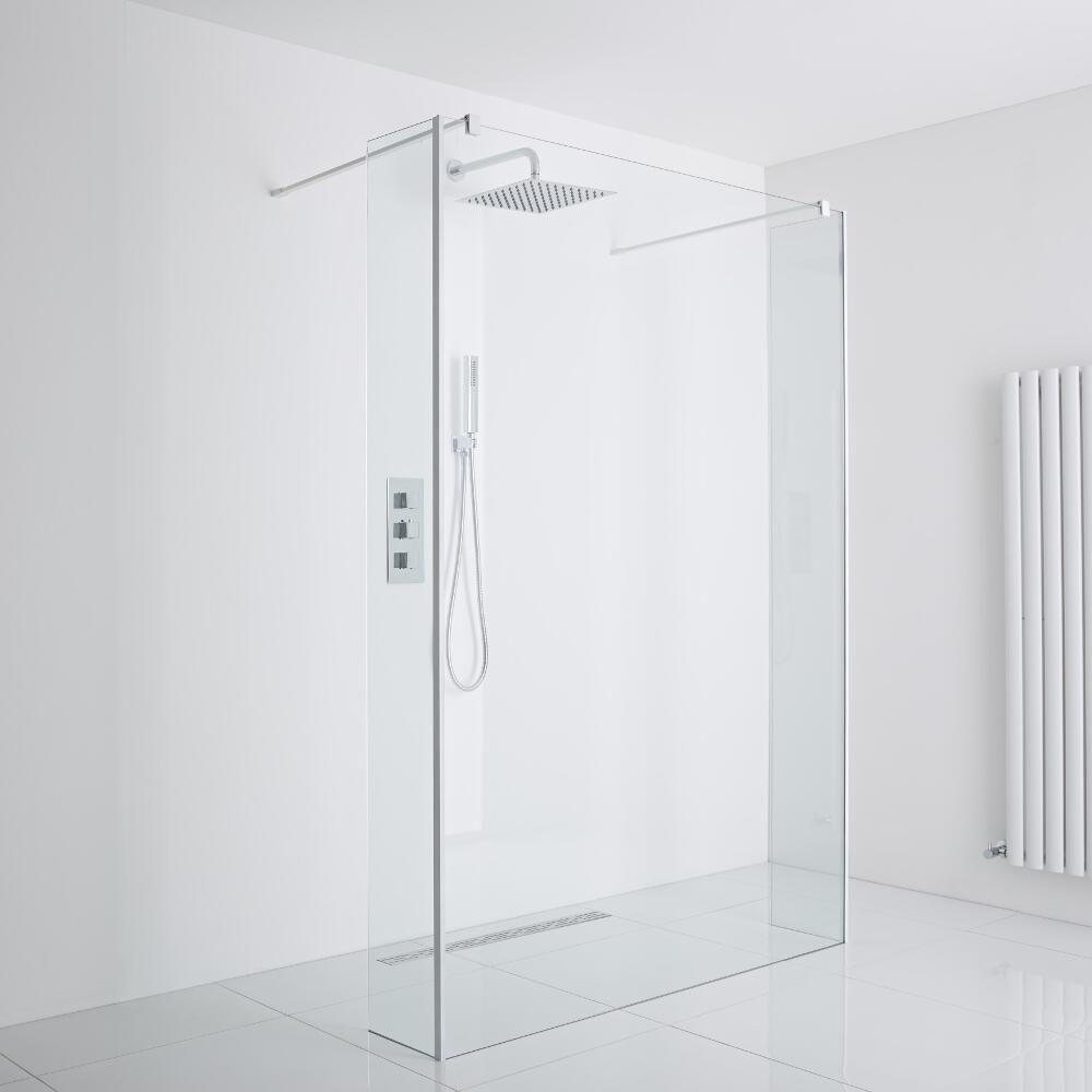 Milano Floating Wet-Room Shower Enclosure Including Drain (1400mm Glass)