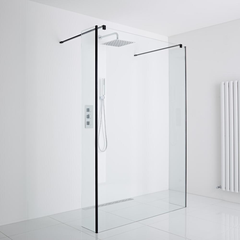 Milano Nero Floating Wet-Room Shower Enclosure (1400mm Glass) - Inc. Drain