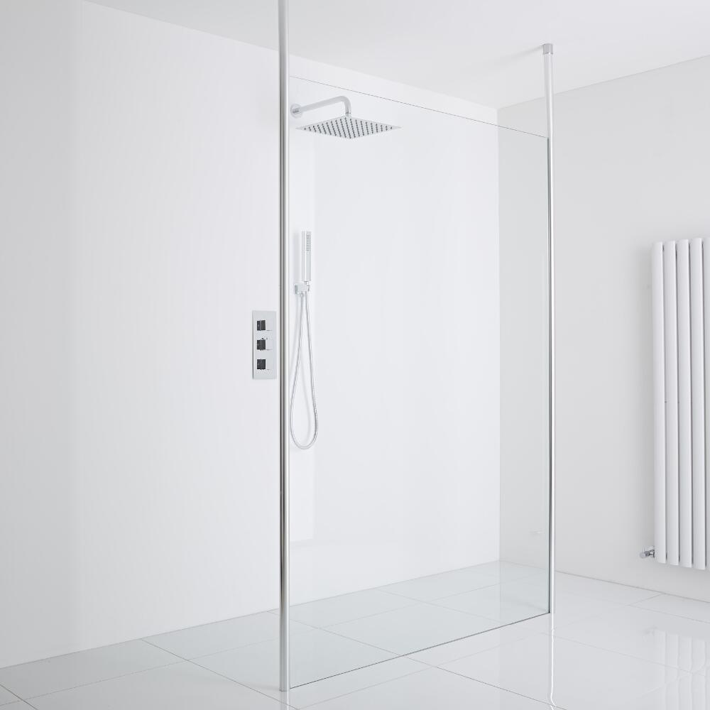 Milano Alto Floating Wet-Room Shower Enclosure (1400mm Glass) - Inc. Drain