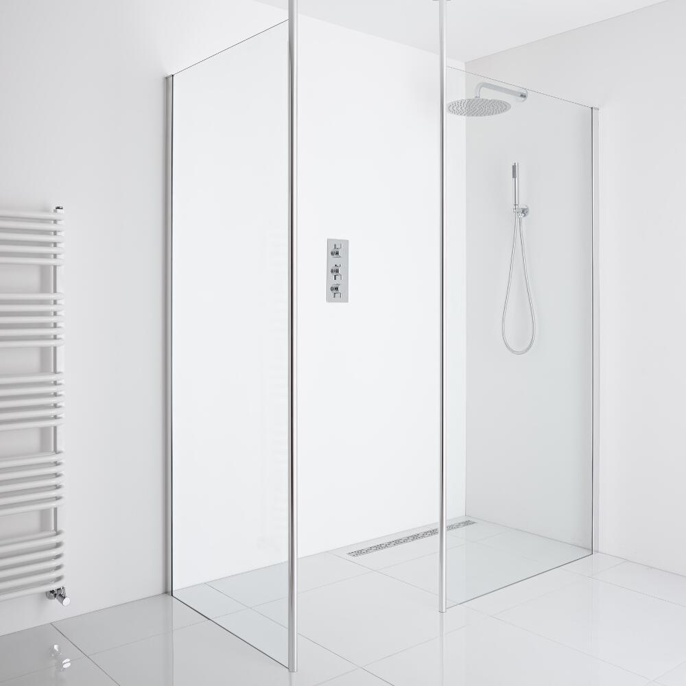 Milano Alto - Corner Walk-In Shower Enclosure (900mm Glass) - Inc. Drain