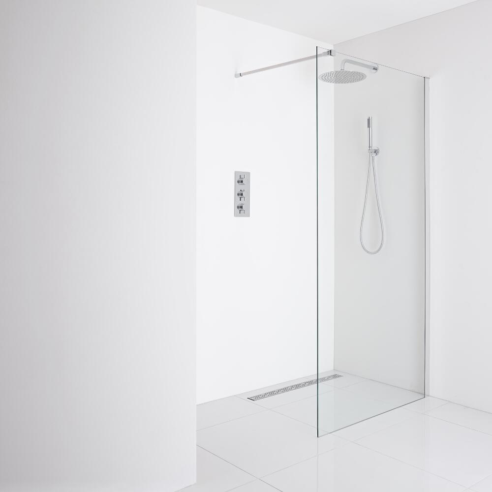 Milano Portland Recessed Wet-Room Shower Enclosure (1400mm Glass) - Inc. Drain