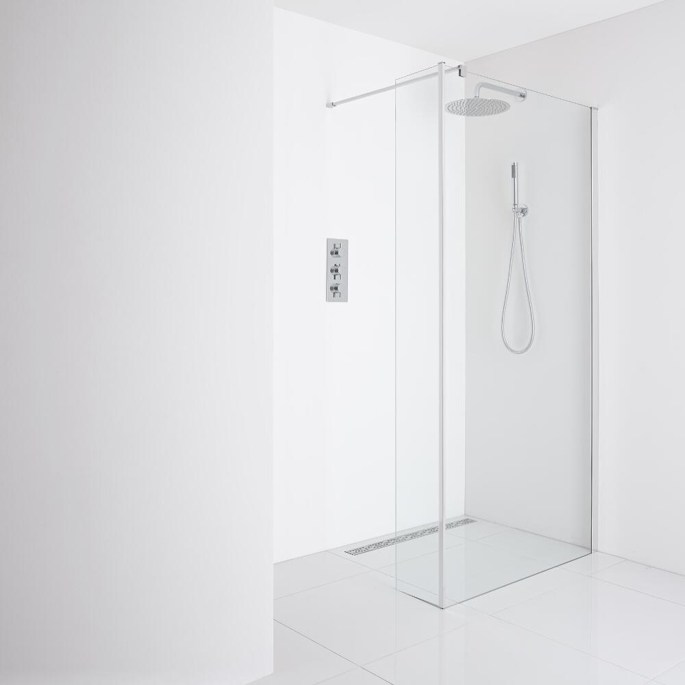 Milano Portland - Recessed Wet-Room Shower Enclosure (1200mm Glass) - Inc. Drain & Return Panel