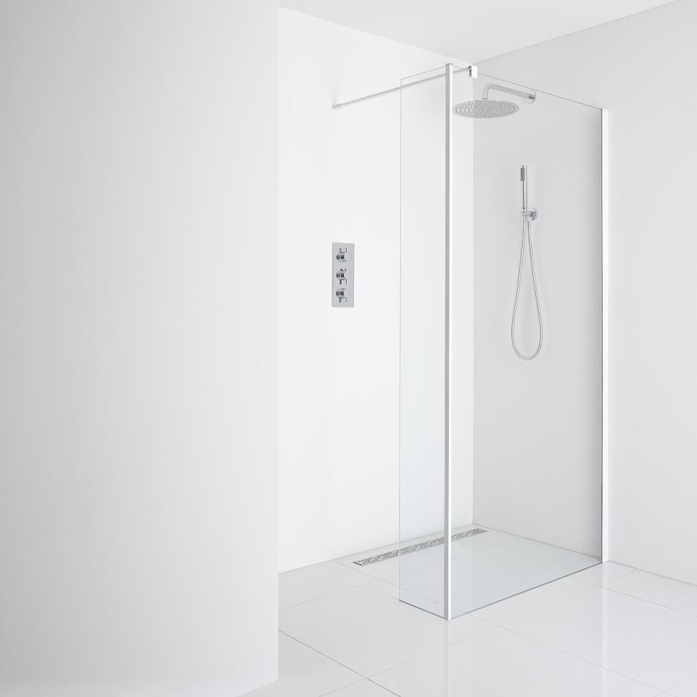Milano Bianco Recessed Wet-Room Shower Enclosure (1400mm Glass) - Inc. Drain & Return Panel