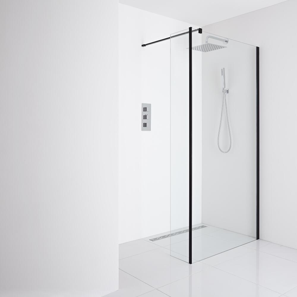 Milano Nero - Recessed Wet-Room Shower Enclosure (1400mm Glass) - Inc. Drain & Return Panel - Choice of Drain