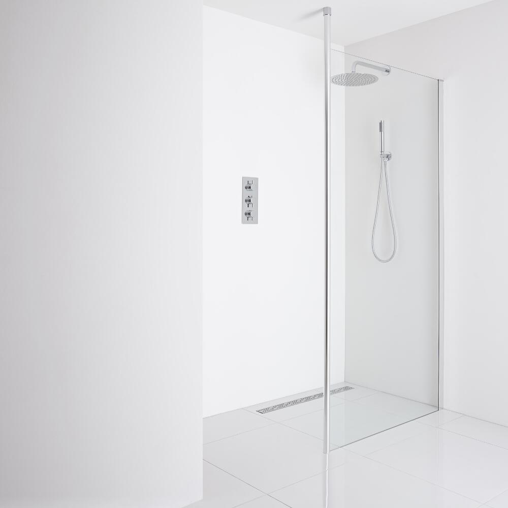 Milano Alto Recessed Wet-Room Shower Enclosure (1200mm Glass) - Inc. Drain
