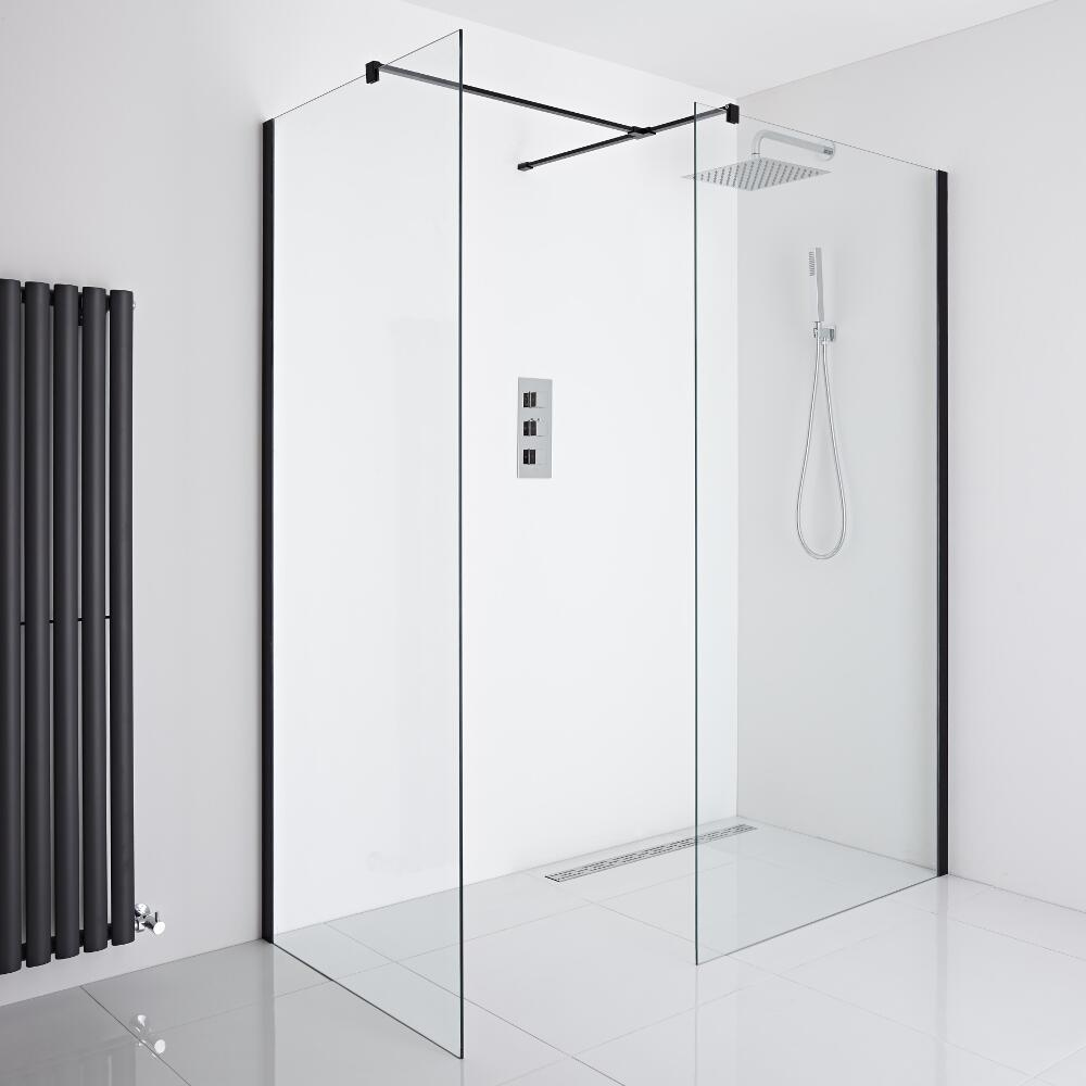 Milano Nero Corner Wet-Room Shower Enclosure (900mm x 800mm Glass) - Inc. Drain