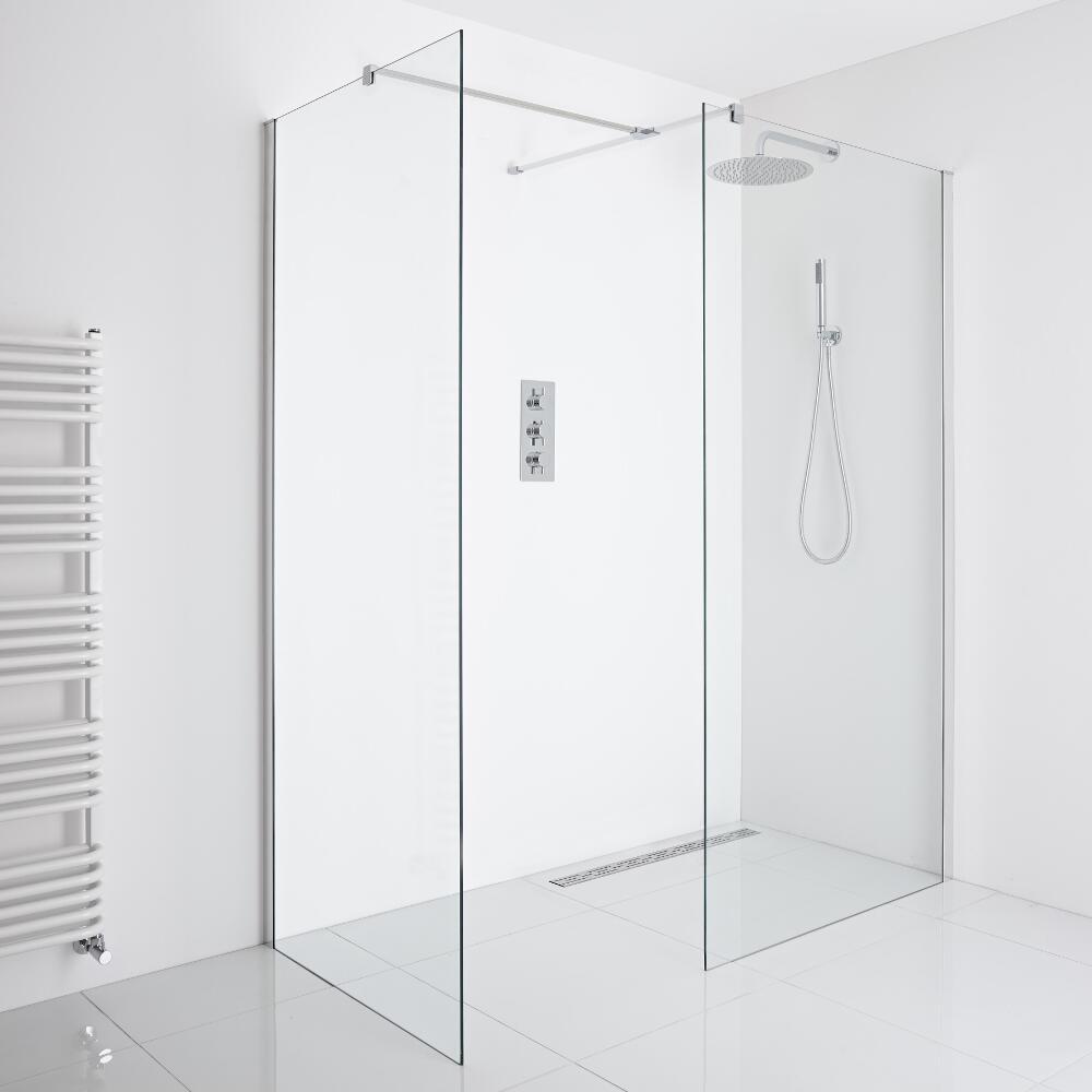 Milano Portland - Corner Wet-Room Shower Enclosure (1000mm x 800mm Glass) - Inc. Drain