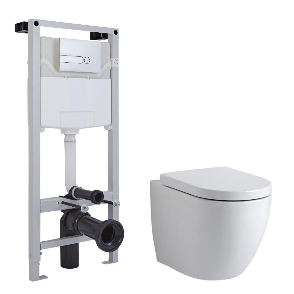 Milano Irwell Wall Hung Toilet, Tall Wall Frame and Choice of Flush Plate