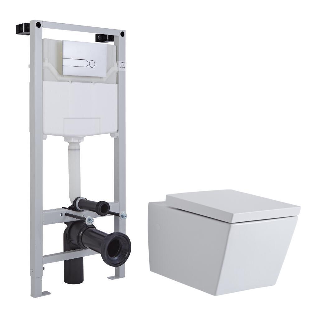 Milano Dalton Wall Hung toilet, Tall Wall Frame and Choice of Flush Plate