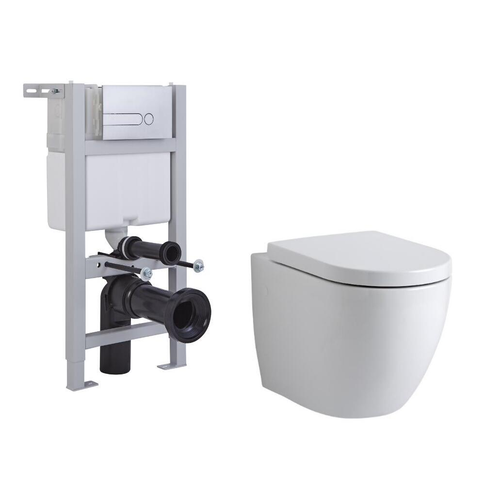 Milano Irwell Wall Hung Toilet, Short Wall Frame and Choice of Flush Plate