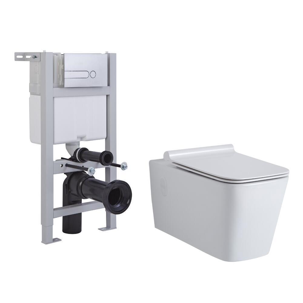 Milano Elswick Wall Hung Toilet, Short Wall Frame and Choice of Flush Plate