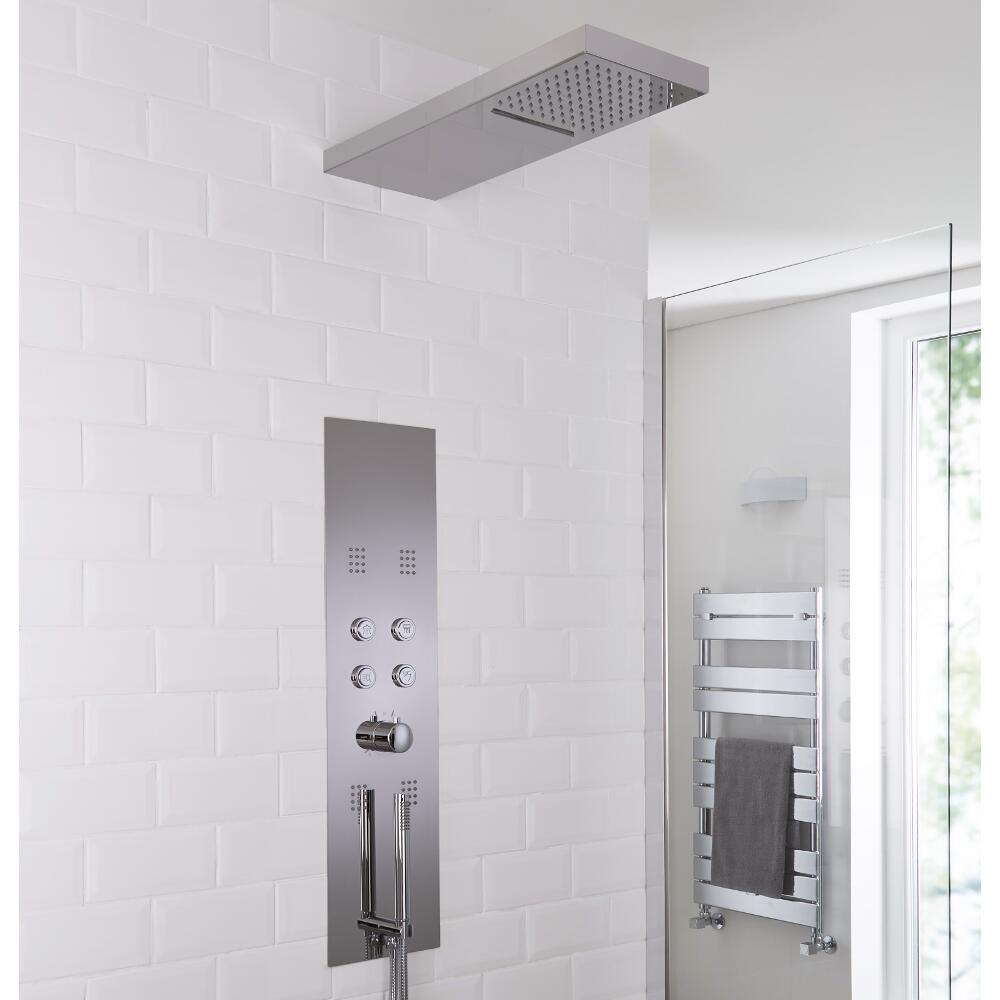 Milano Dakota - Modern Concealed Thermostatic Shower Tower Panel with Waterfall and Blade Shower Head, Hand Shower and Body Jets - Chrome