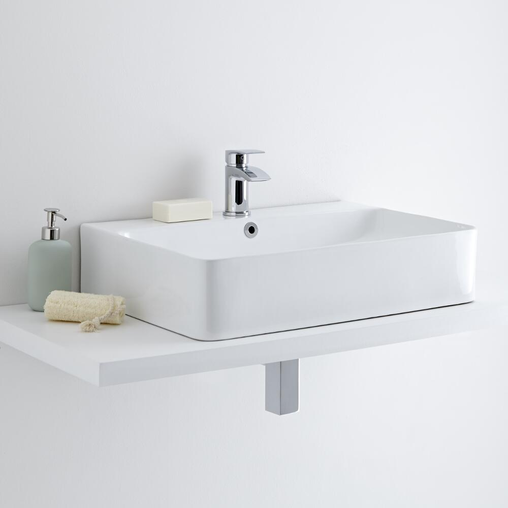 Milano Farington - White Modern Rectangular Countertop Basin with Mixer Tap - 600mm x 420mm (1 Tap-Hole)