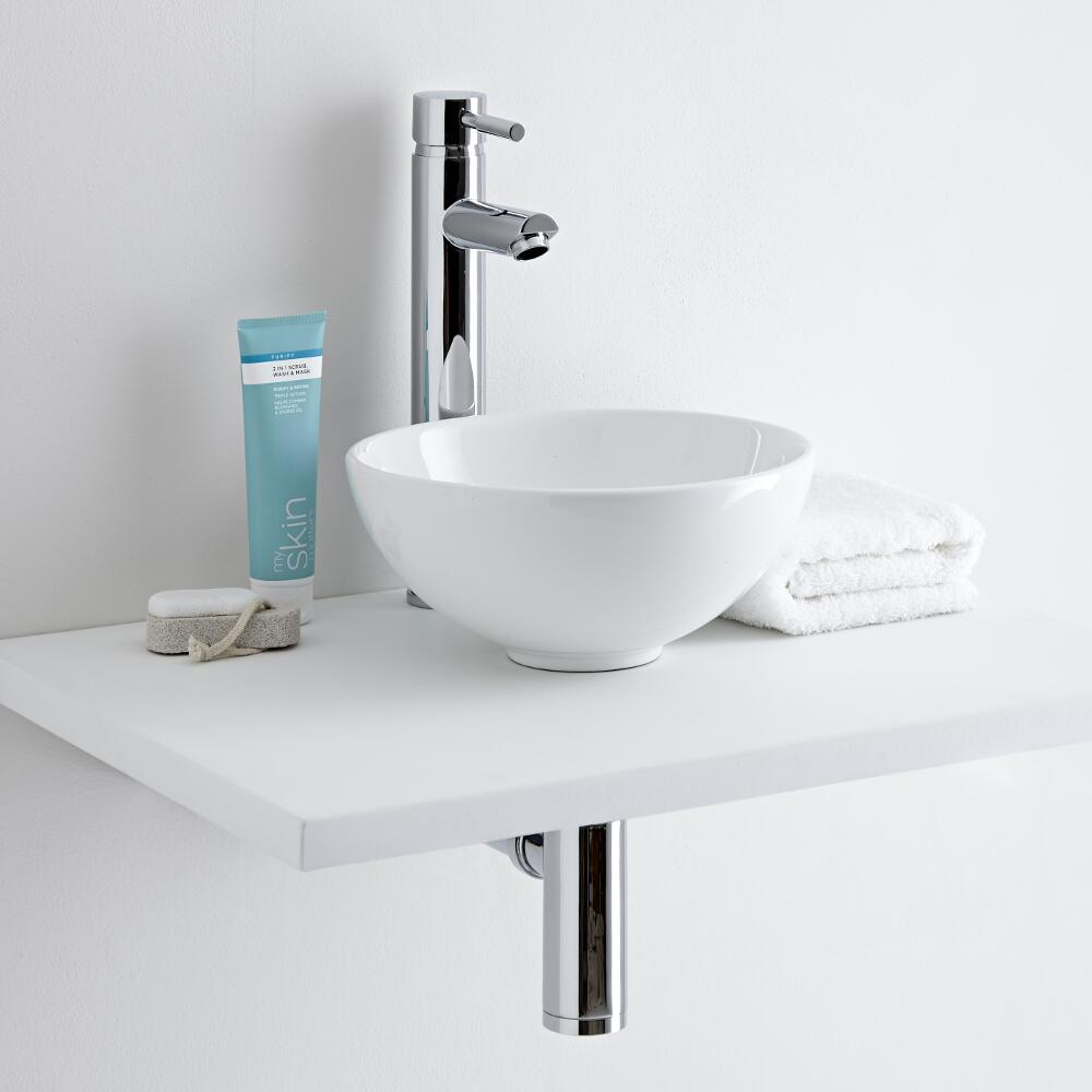 Milano Irwell Round Countertop Basin with Mirage High Rise Tap