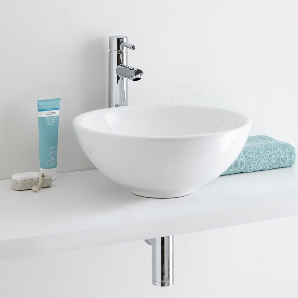 Milano Irwell 400mm Round Countertop Basin with Mirage High Rise Basin Tap