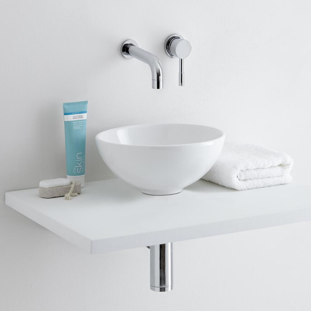 Milano Irwell - White Modern Round Countertop Basin with Wall Hung Mixer Tap - 280mm x 280mm (No Tap-Holes)