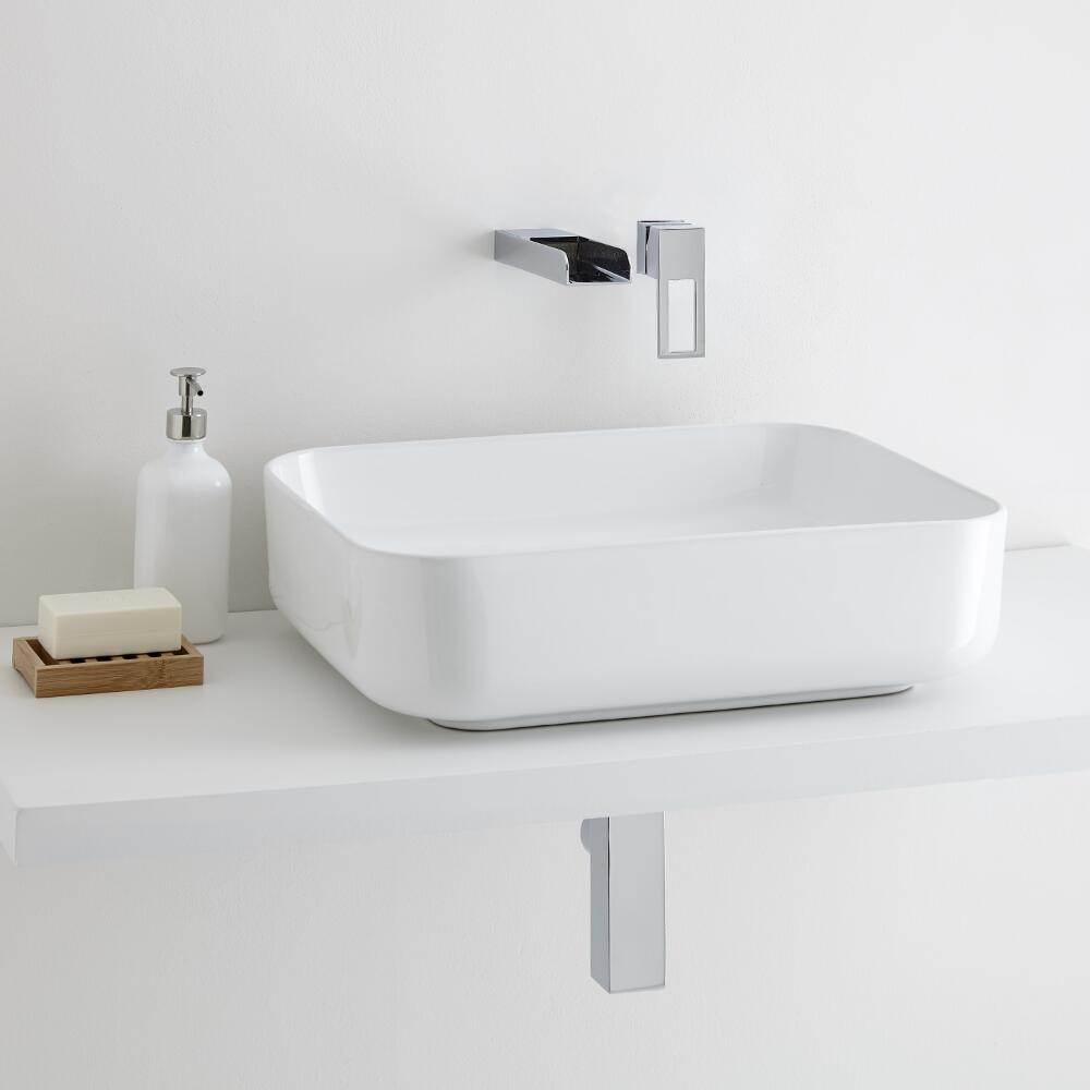 Milano Longton Rectangular Countertop Basin with Parade Wall Mounted Basin Tap