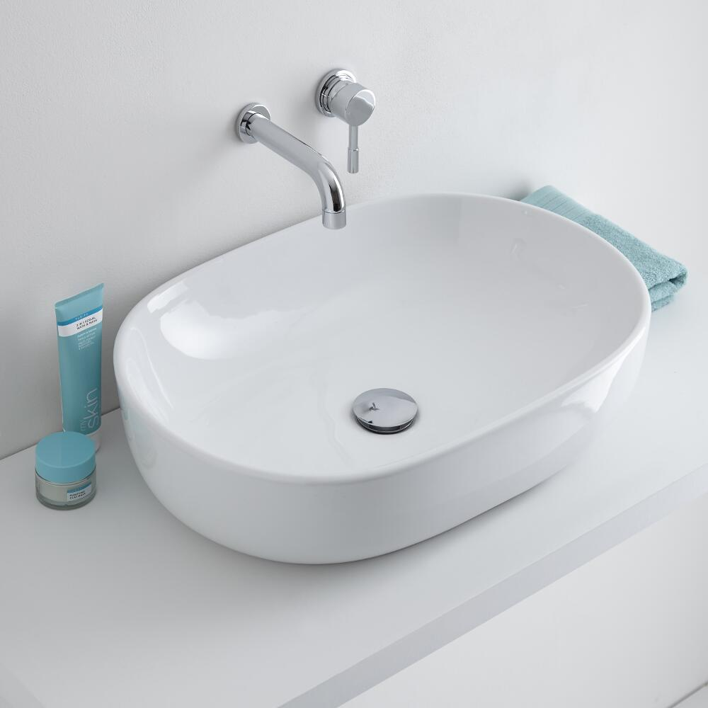 Milano Overton - White Modern Round Countertop Basin with Wall Hung Mixer Tap - 590mm x 410mm