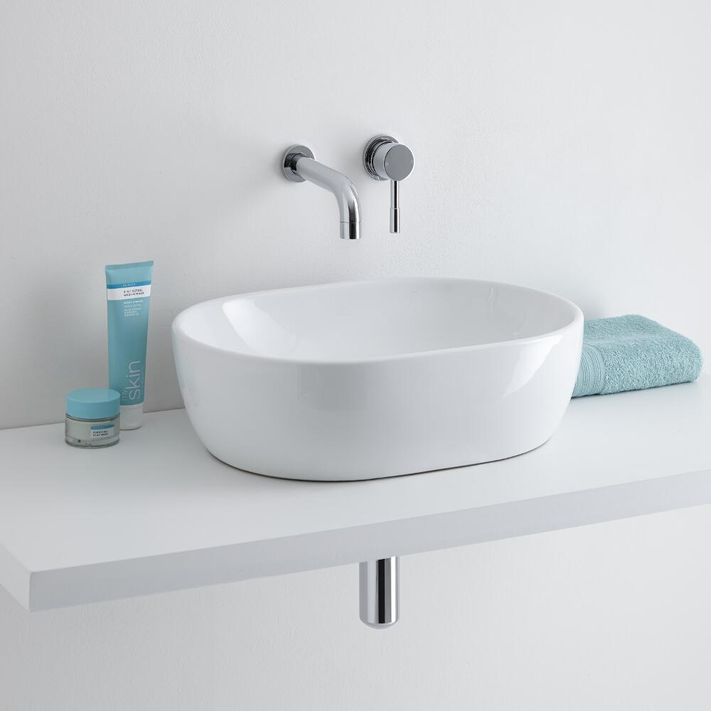 Milano Overton 560mm Countertop Basin with Mirage Wall Mounted Tap