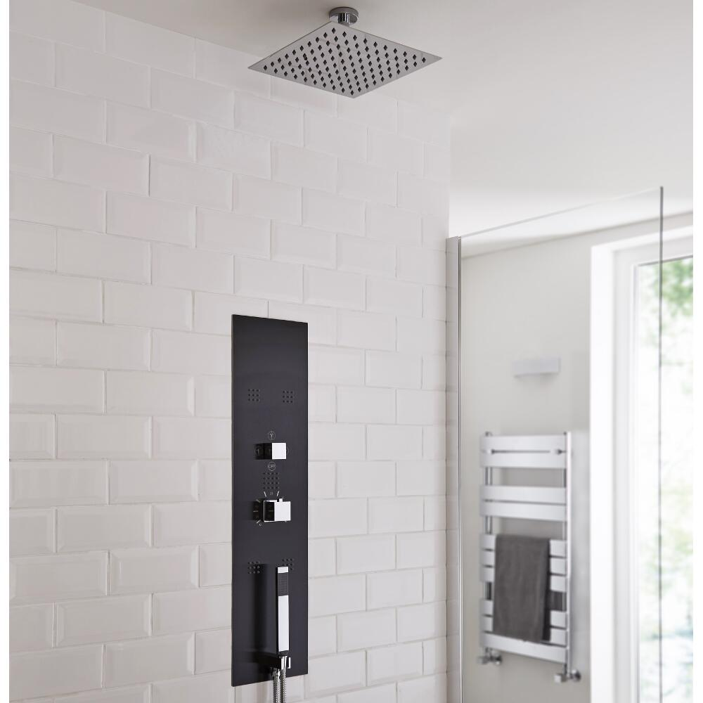 Milano Lisse - Concealed Shower Tower with 200mm Square Head and Short Ceiling Arm