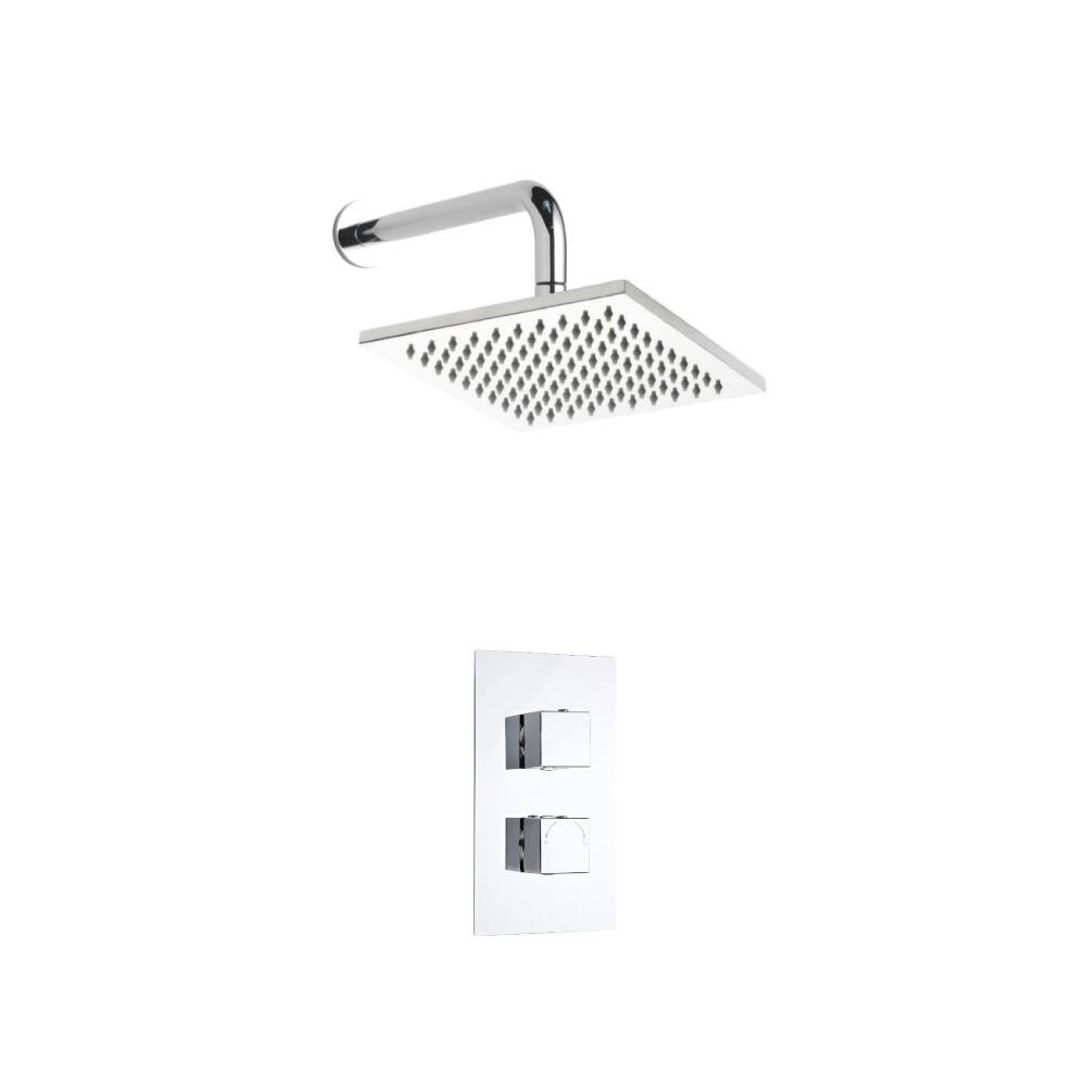 Milano Square Twin Thermostatic Shower Valve With 200mm Shower Head and Wall Arm
