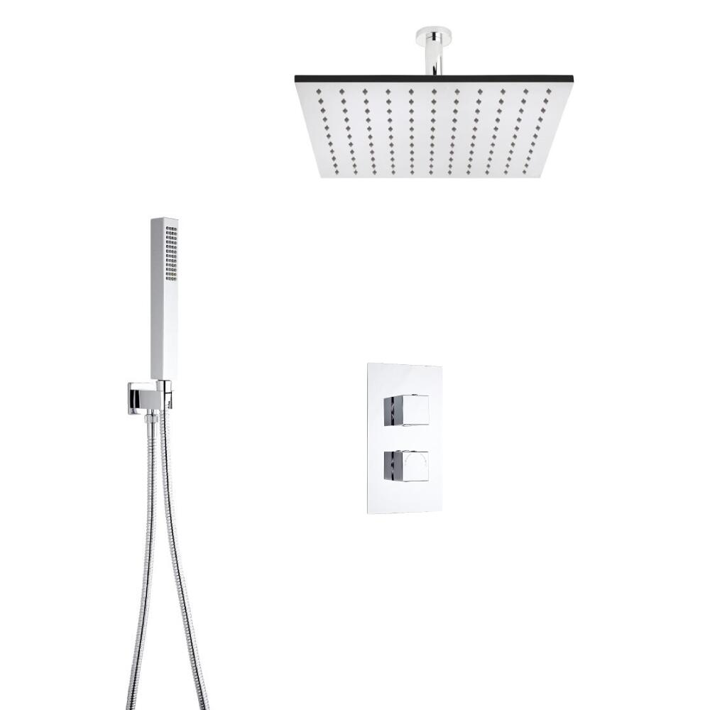 Milano Square Twin Diverter Thermostatic Valve, 400mm Head, Ceiling Arm and Handset