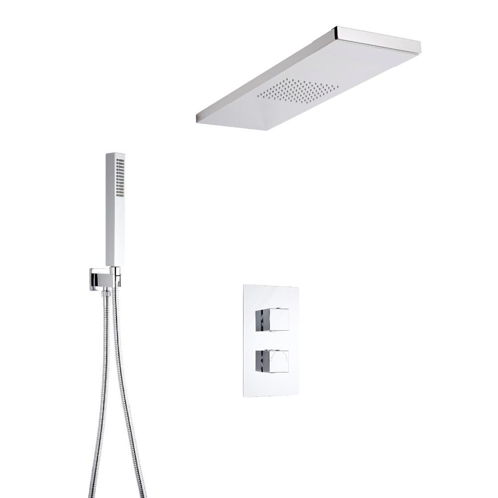 Milano Square Twin Diverter Thermostatic Valve, Glass Grabbing Shower Head and Hand Shower