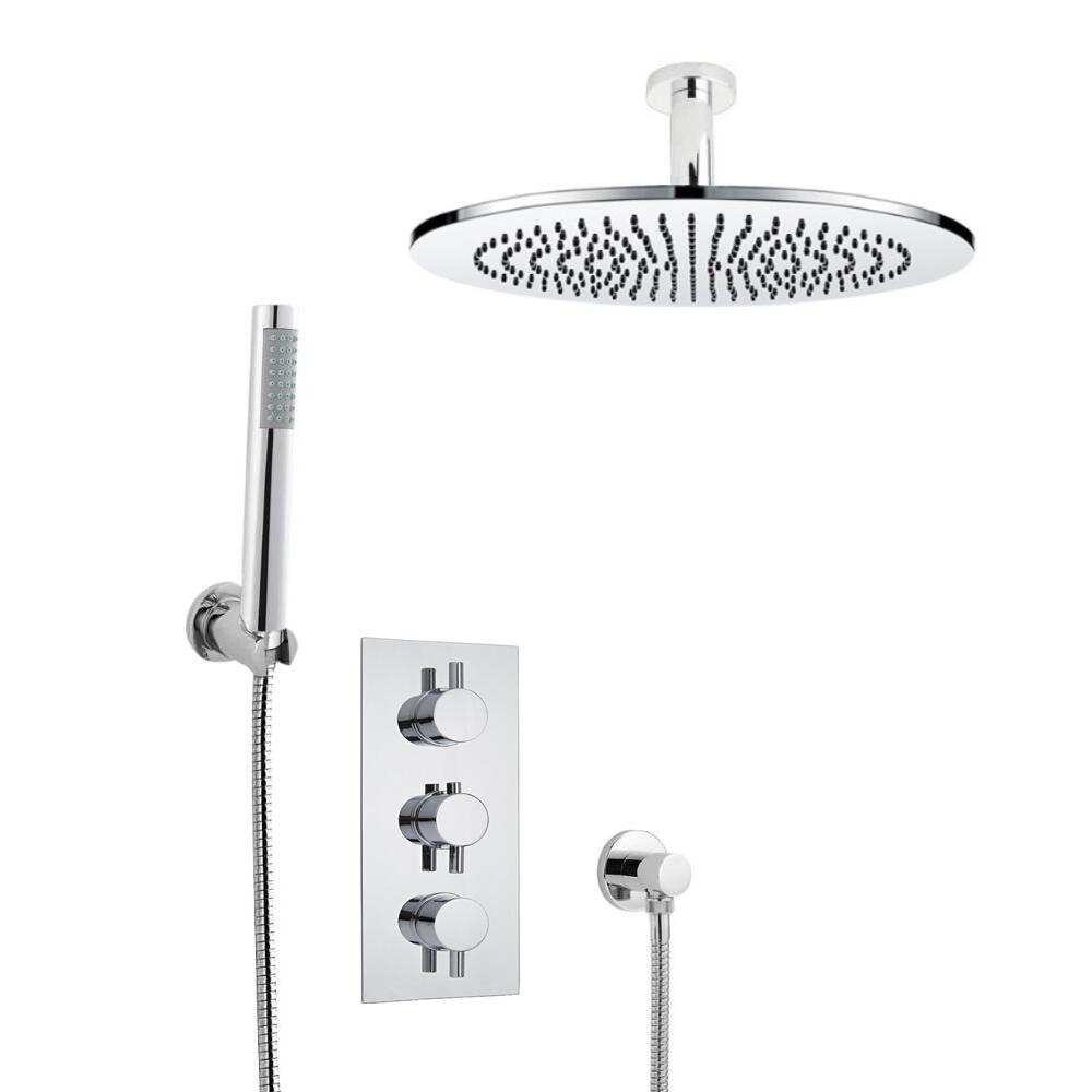 Milano Round Triple Thermostatic Shower Valve With 300mm Shower Head, Ceiling Arm and Hand Shower