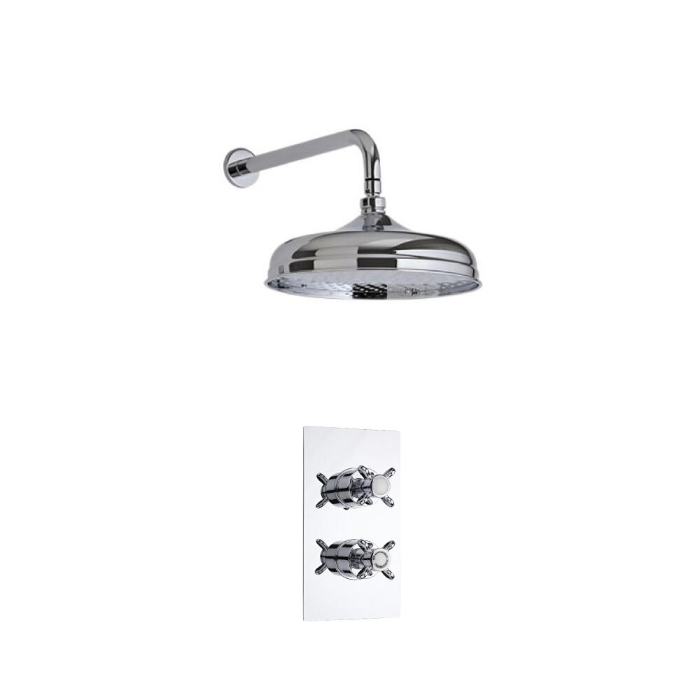Milano Traditional Twin Thermostatic Shower Valve With 150mm Shower Head and Wall Arm