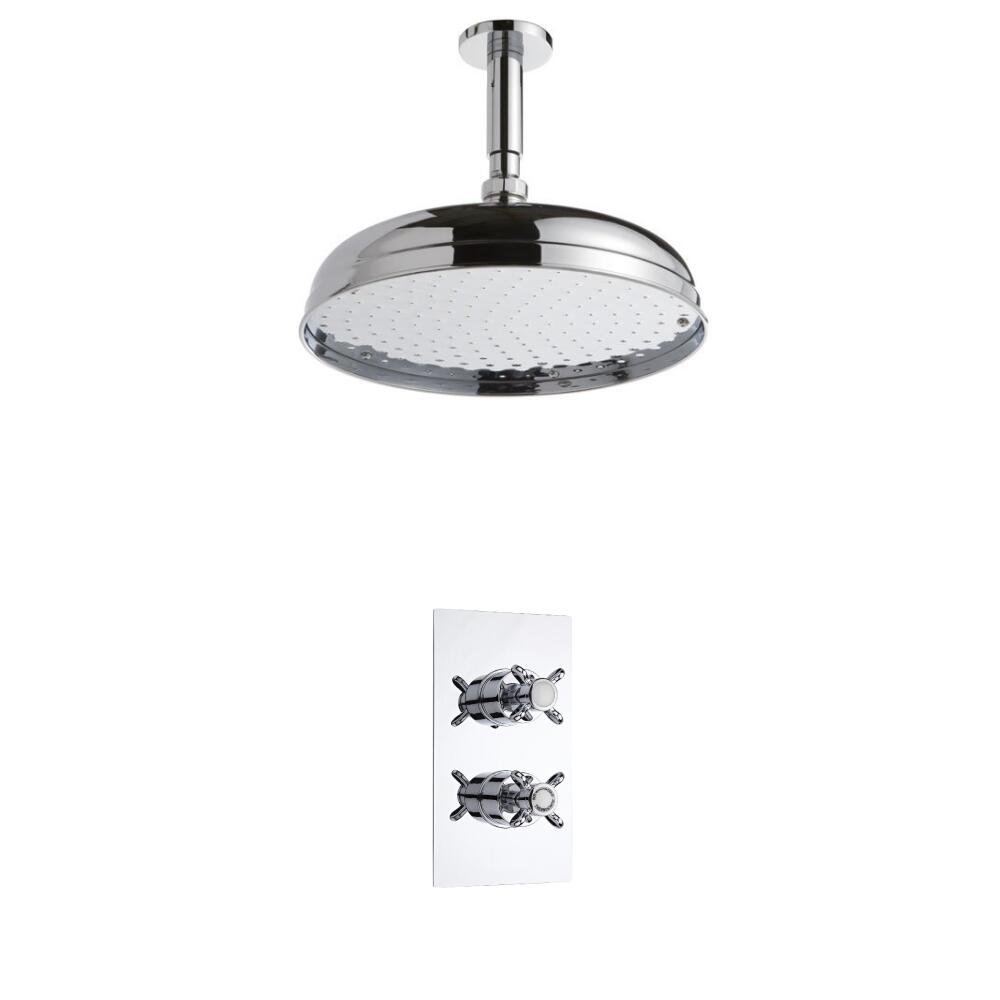 Milano Traditional Twin Thermostatic Shower Valve With 300mm Shower Head & Ceiling Arm