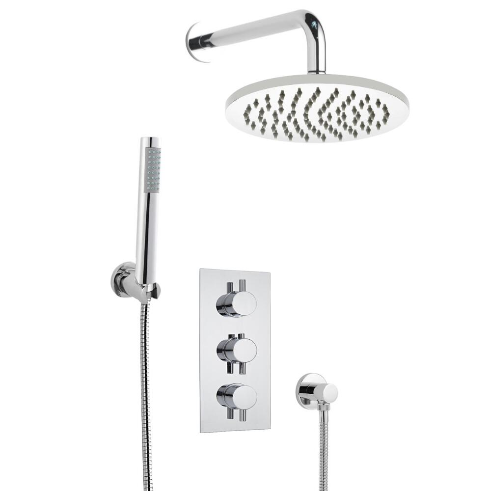 Milano Round Triple Thermostatic Shower Valve With 200mm Shower Head, Wall Arm and Hand Shower