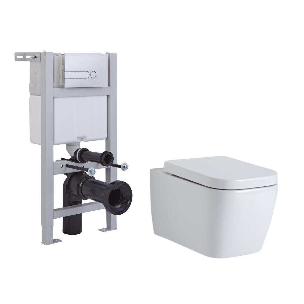 Milano Longton Wall Hung Toilet, Short Wall Frame and Choice of Flush Plate