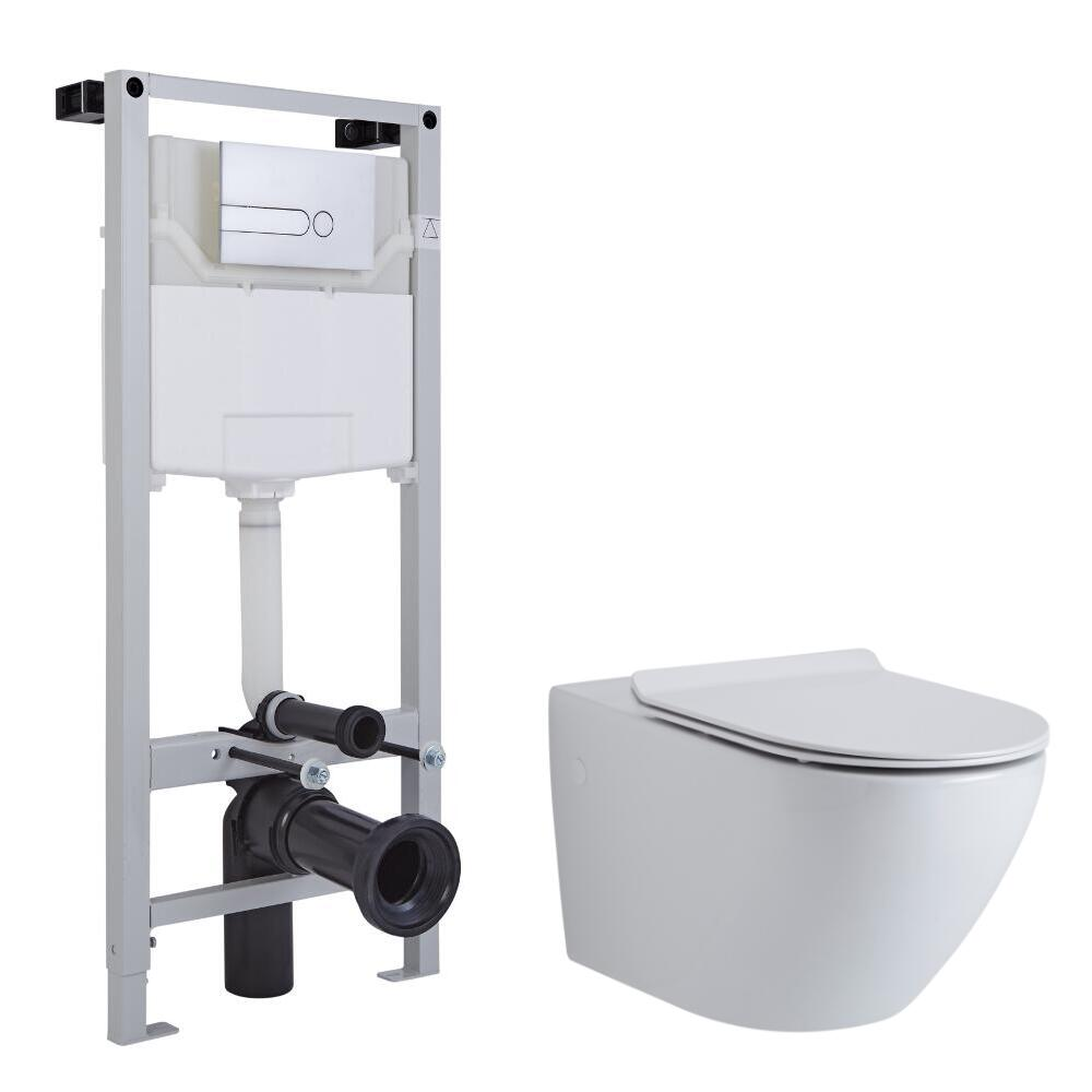 Milano Overton Wall Hung Toilet Tall Wall Frame and Choice of Flush Plate