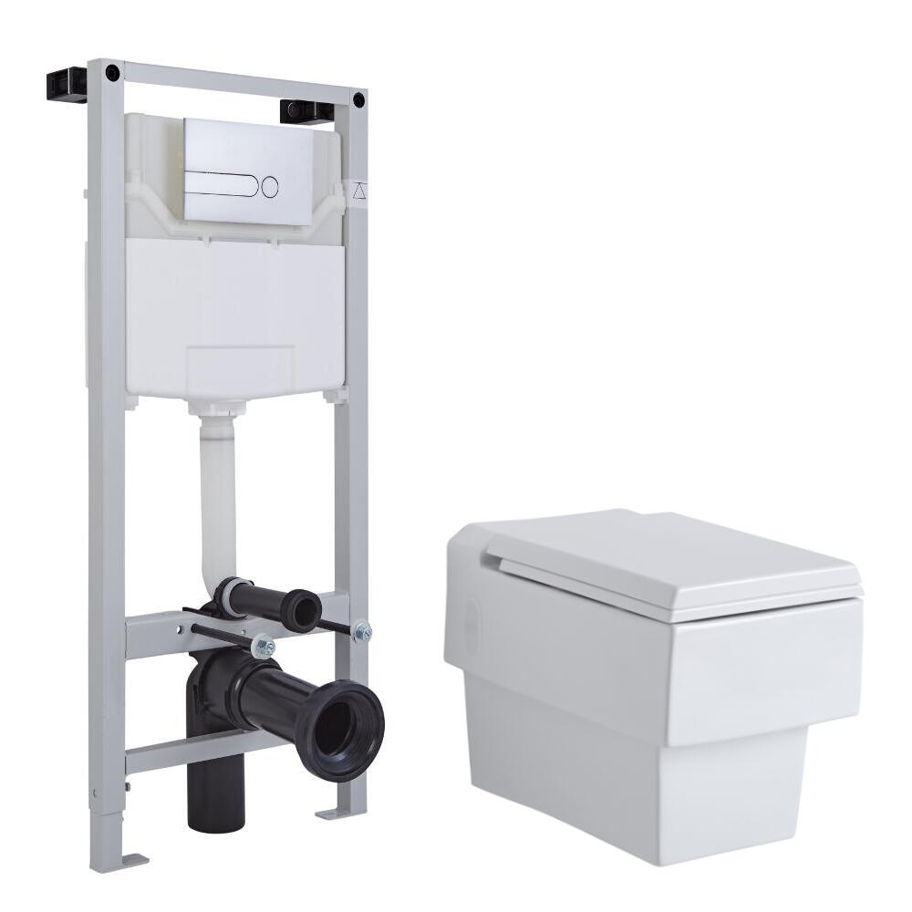 Milano Westby Wall Hung Toilet Tall Wall Frame and Choice of Flush Plate