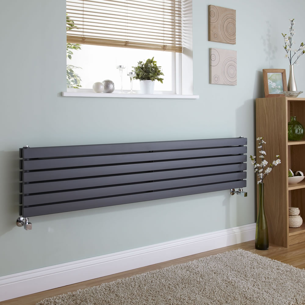 Milano Capri - Anthracite Flat Panel Horizontal Designer Radiator - 354mm x 1780mm (Double Panel)