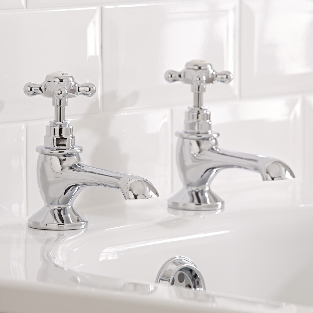 Hudson Reed Elizabeth - Traditional Crosshead Deck Mounted Bath Taps - Chrome and White