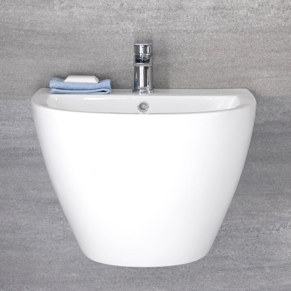 Milano Irwell - White Modern Wall Hung Basin - 530mm x 440mm (1 Tap-Hole)