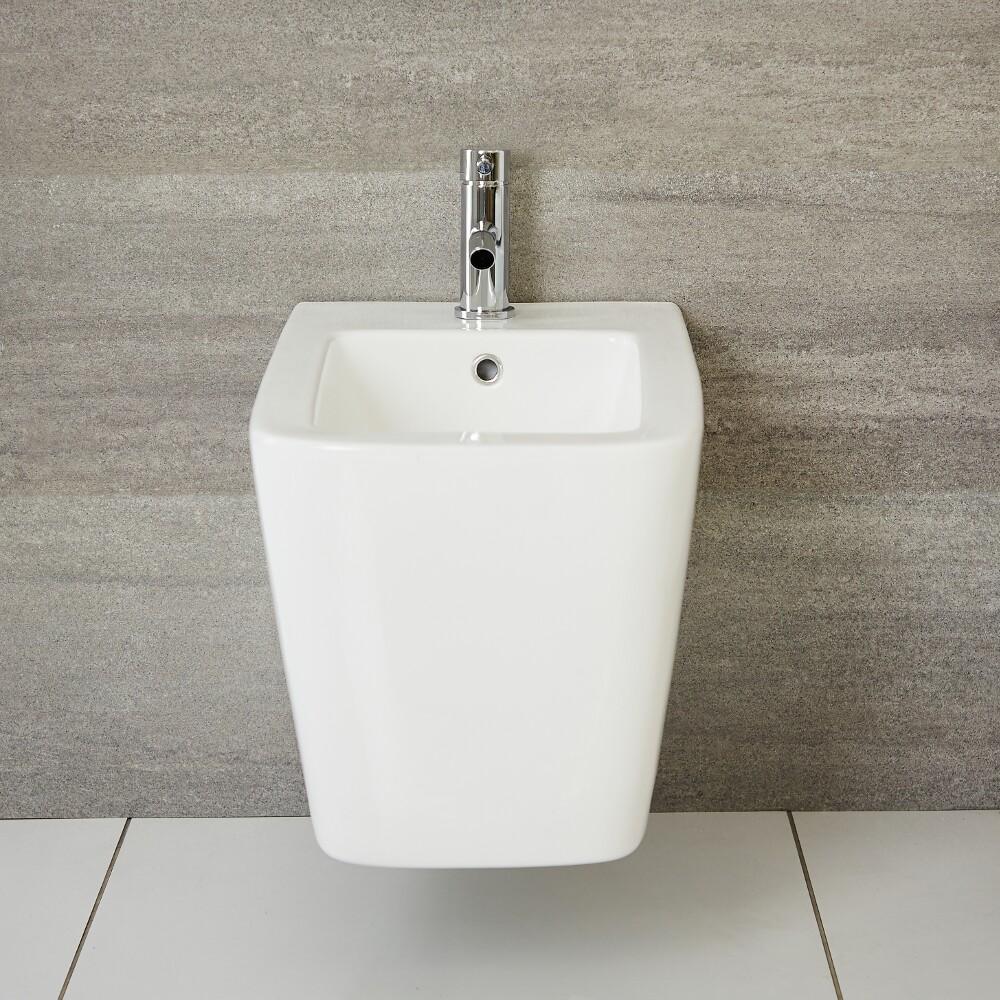 Milano Elswick - White Modern Wall Hung Bidet - 400mm x 570mm