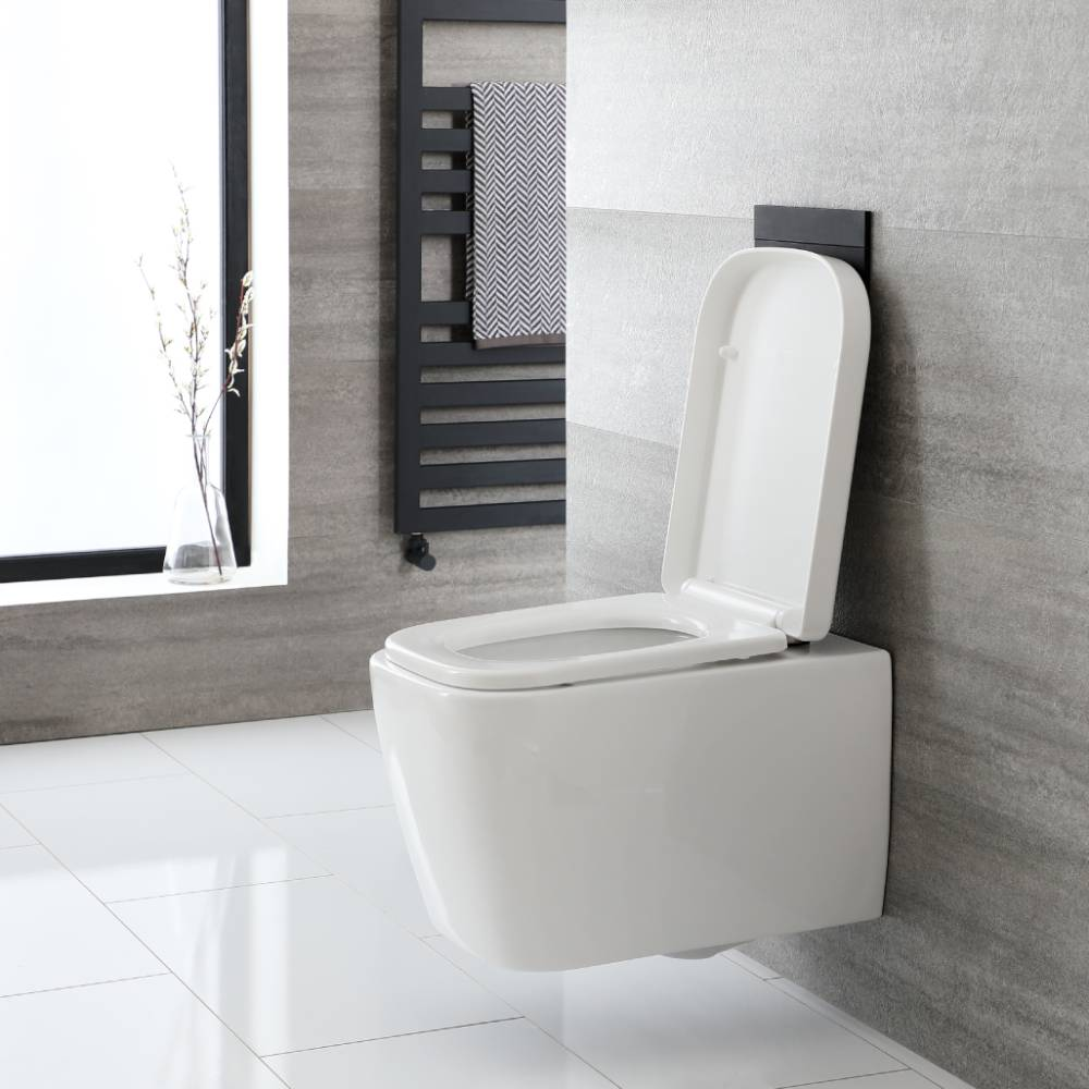 Milano Longton - White Modern Square Wall Hung Toilet with Soft Close Seat