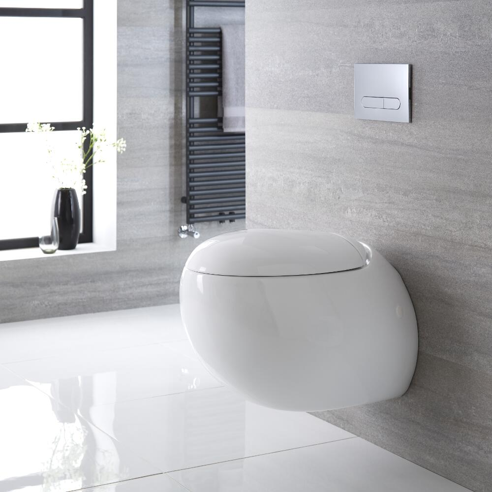 Milano Mellor - White Modern Round Wall Hung Toilet with Soft Close Seat - 420mm x 350mm