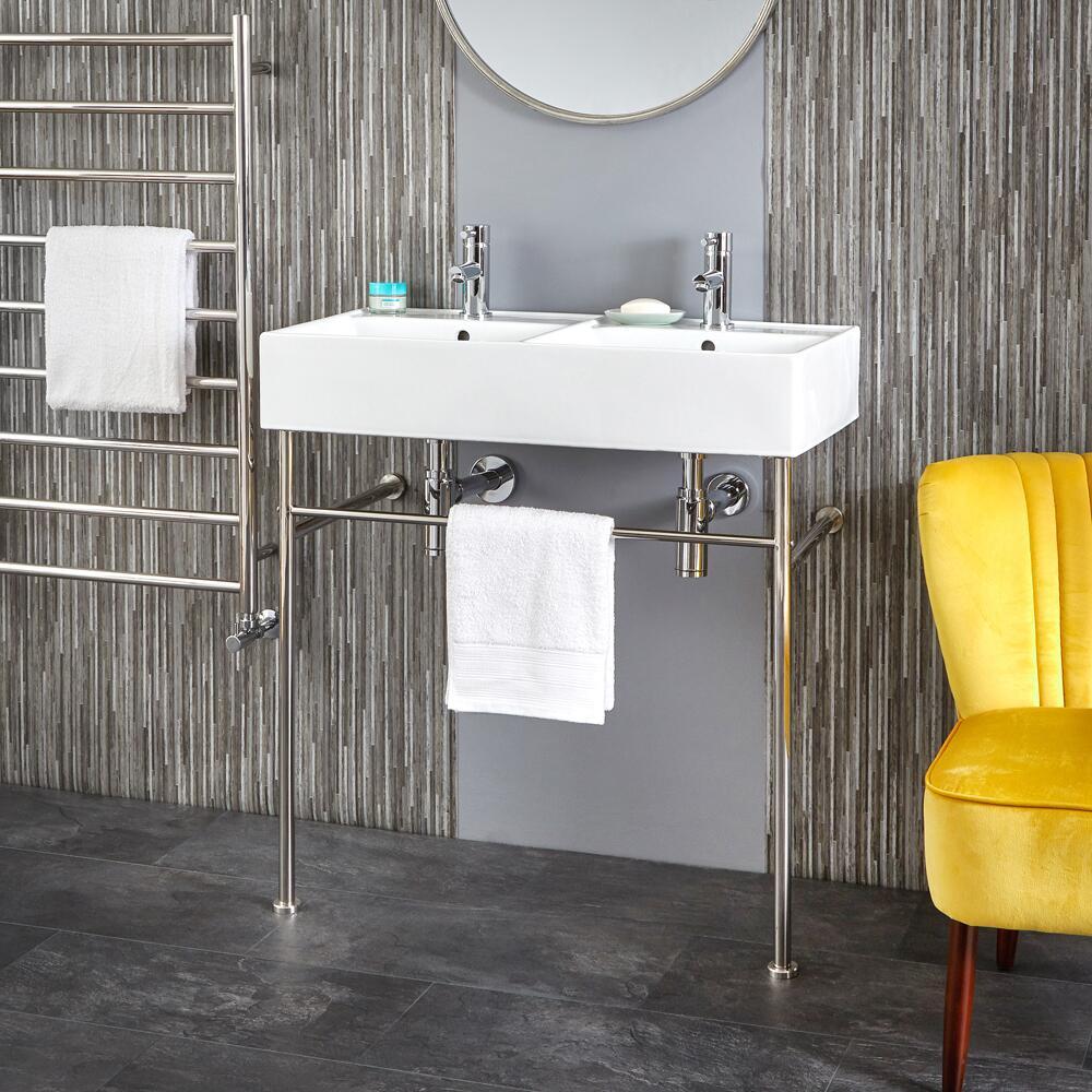 Milano Dalton - 820mm Double Basin with Chrome Washstand